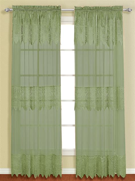 sage sheer curtains valerie rod pocket curtain with attached valance sage