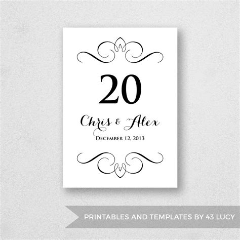 Table Number Template Printable Instant Download For Word Table Number Templates For Word