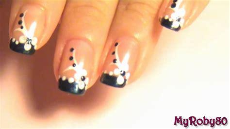 nail art white tutorial nail art tutorial 1 blu white flower youtube