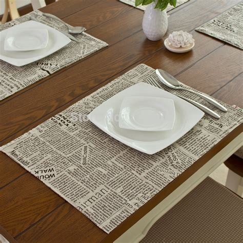 Dining Table Mats Aliexpress Buy Fashion Linen Fabric Placemat Heat