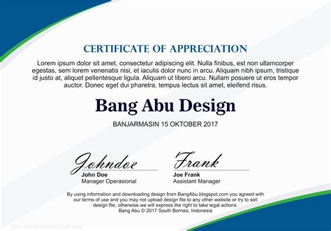 blank certificate background material blue bang abu design