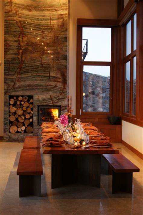 Dining Room Fireplace Dining Room With Granite Fireplace For The Home