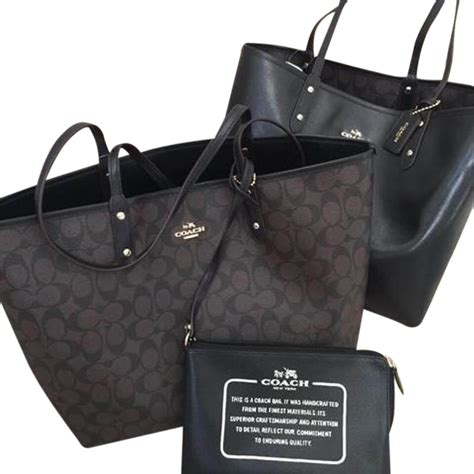 Jual Dompet Coach Black And Brown Authentic 2 coach brown black signature coated canvas tote tradesy