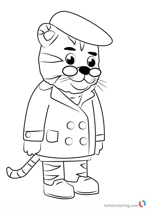 daniel tiger coloring grandpere tiger from daniel tiger coloring pages free