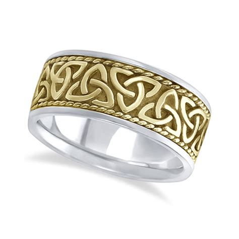 mens handmade celtic wedding ring 14k two tone gold 10mm