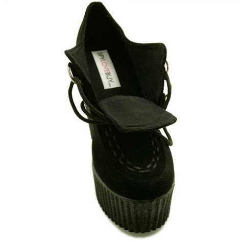 cameron wedge heel creeper platform shoes black from