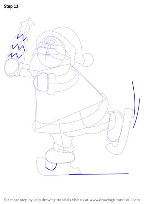 learn   draw  ice skating santa christmas step