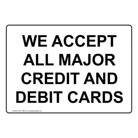 We Do Not Accept Credit Debit Cards Sign Template by We Accept Major Credit Debit Cards Sign Nhe 17962 Payment