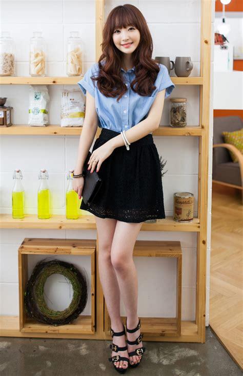 Annbaby 8 H Skirt Rok Korea 2fb lace shell skater skirt kstylick korean fashion k pop styles fashion