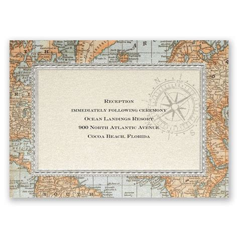map card antique world map reception card invitations by