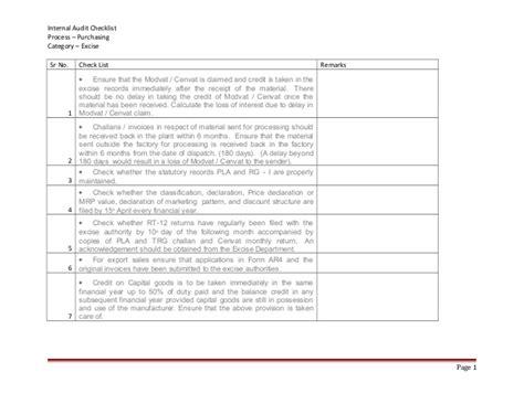Internal Audit Checklist Process Purchasing Category Exicise Procurement Audit Program Template