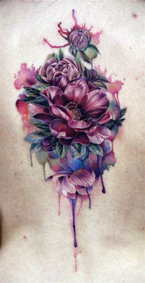 sch 246 ne aquarell blumen tattoo am r 252 cken tattooimages biz