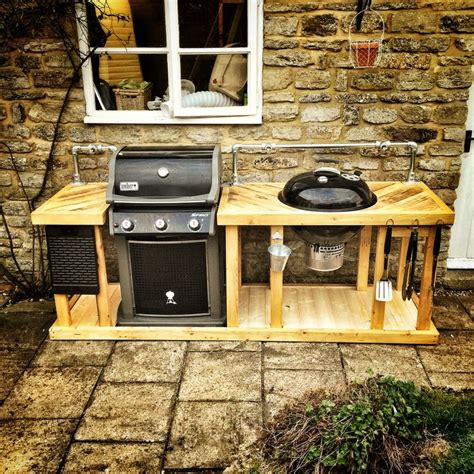 Outdoor Gas Kitchen by A Weber Mega Grill Combining A Weber Gas And Charcoal Bbq