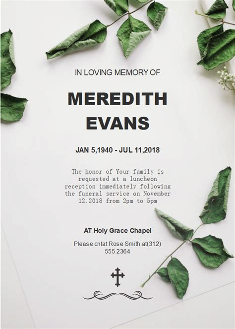 green leaves funeral invitation templates