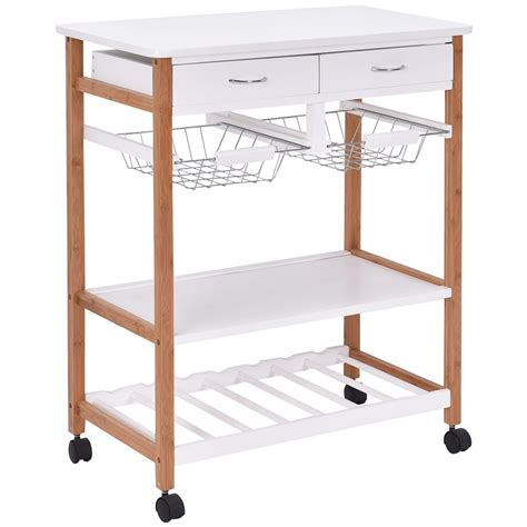 Kitchen Rolling Cart With Drawers by Kitchen Rolling Wood Trolley Cart Island Storage Basket
