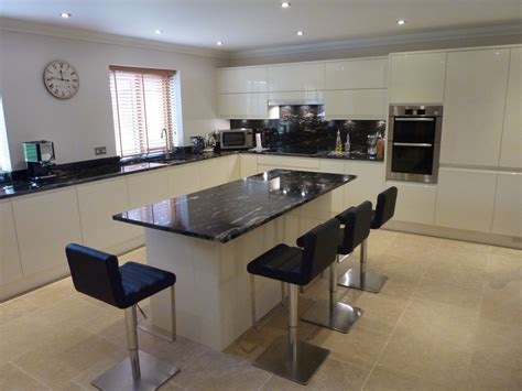 Cream Gloss Kitchen Ideas by Central Island With Cosmic Black Granite Worktop