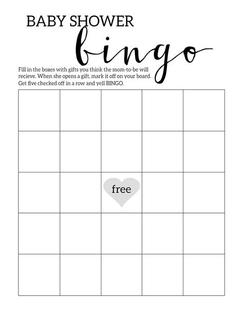 baby shower bingo blank card template baby shower bingo printable cards template paper trail