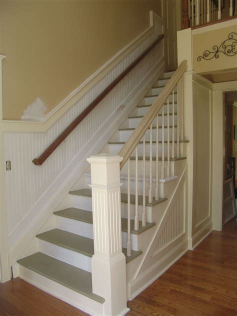 Wainscoting On Stairs by Stairway Upgrade From Carpet To The Beginnings Of This