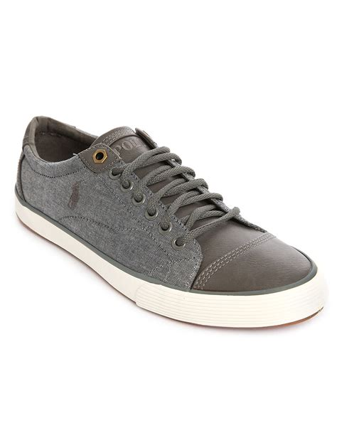polo leather sneakers polo ralph grey leather chambray sneakers in gray