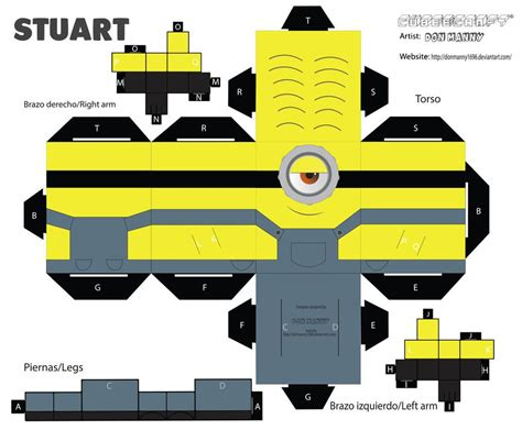 Minion Papercraft - cubeecraft minion stuart by donmanny1696 on deviantart
