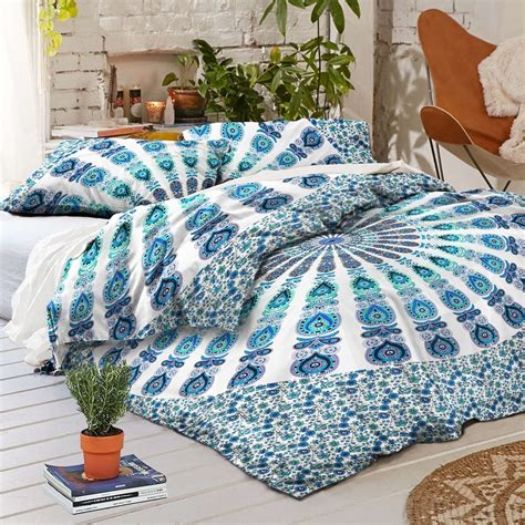 blue hippie floral mandala tapestry bedspread bed cover new boho armelia mandala tapestry queen duvet cover set