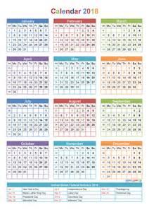 Calendar 2018 With Holidays Template Printable Yearly Calendar 2018 With Holidays Template
