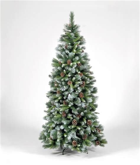xmas tree frosted snow tipped white green pine cones 6ft