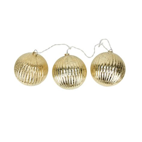 3 mercury glass ball lights set decorative accessories lighting set of 3 lighted gold mercury glass finish ribbed ball