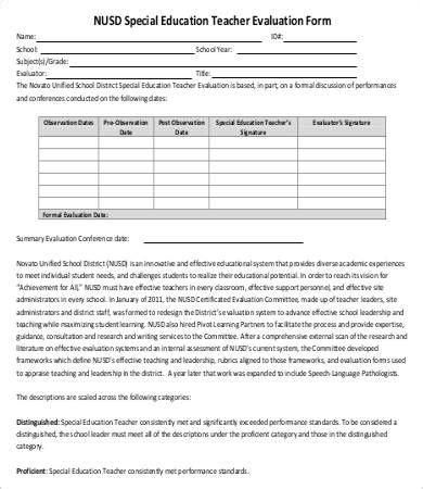 teacher evaluation form 10 free word pdf documents