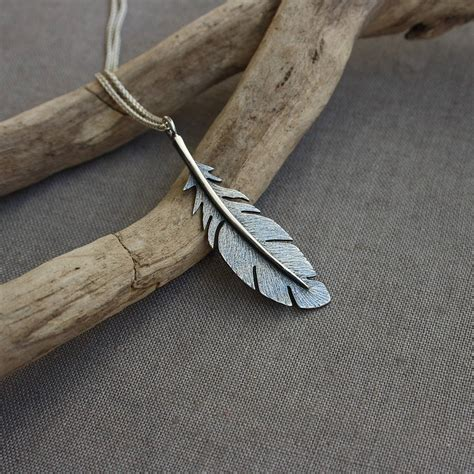 Handmade Silver Jewellry - handmade silver oxidised feather pendant by caroline cowen
