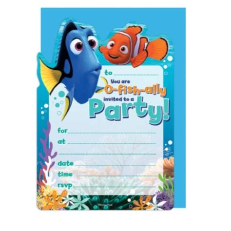 Finding Nemo Party Supplies Decorations Character Parties Australia Finding Dory Birthday Invitations Template