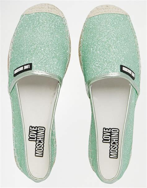 mint flat shoes moschino mint glitter espadrille flat shoes in green