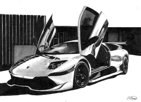supercar drawing lamborghini murcielago drawing super car by