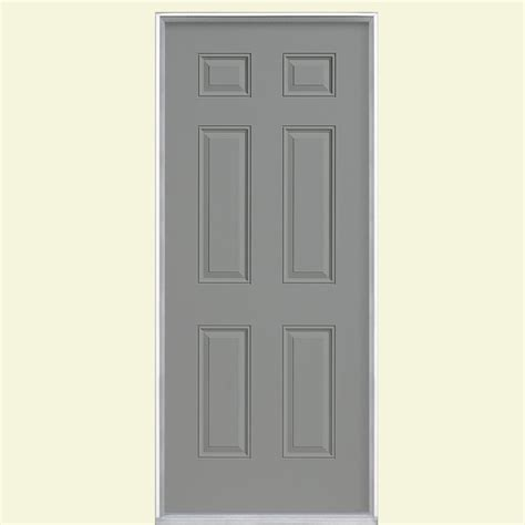 30x80 Exterior Door Masonite 30 In X 80 In 6 Panel Painted Steel Prehung Front Door With No Brickmold 34191 The