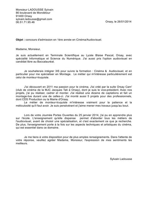 Lettre De Motivation école Audiovisuel Lettre De Motivation Lettre De Motivation Pdf Fichier Pdf