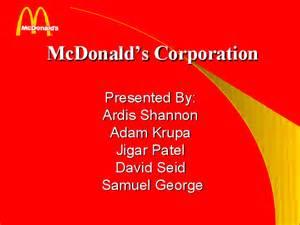 Mcdonalds Powerpoint Template by Mcdonald S Corporation Present Powerpoint