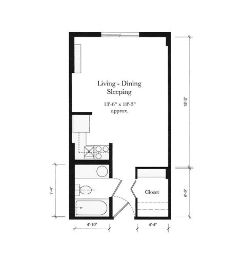 efficient studio layout studio apartment floor plans for aging friendship terrace retirement community