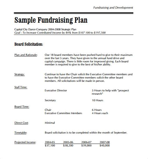 fundraising business plan template sle development plan template 8 free documents in