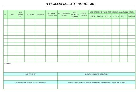 Quality Check Sheet Template by In Process Quality Inspection