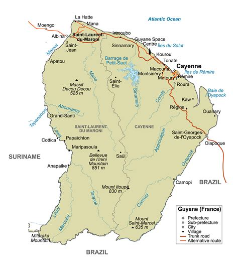 map of guiana south america large detailed political map of guiana with major