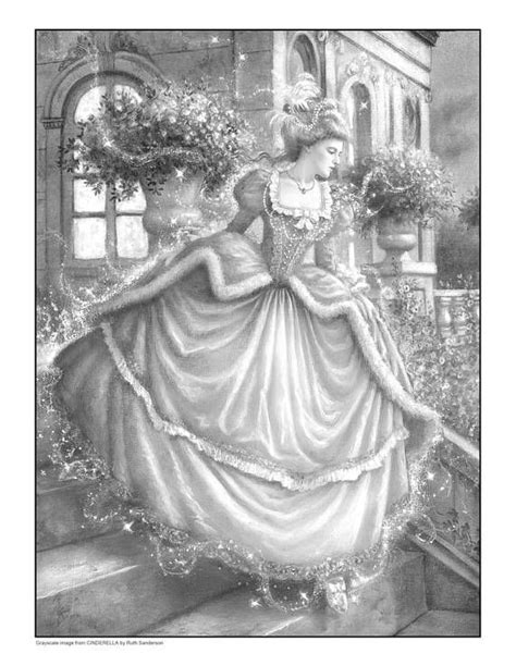 grayscale coloring cinderella set of 4 grayscale coloring pages tales