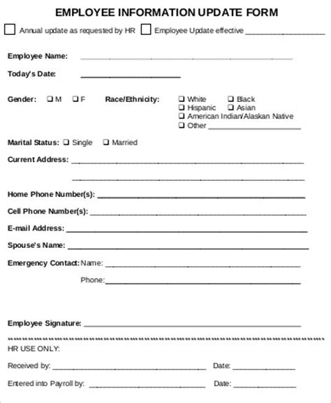 Update Contact Information Form Template by 9 Sle Employee Update Forms Sle Templates