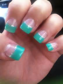 acrylic nails teal ish grey sparkle lining french tips