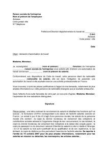 Lettre Pour Une Demande De Visa Etudiant Mod 232 Le De Lettre De Demande D Autorisation De Travail Pour Un 233 Tranger Documentissime