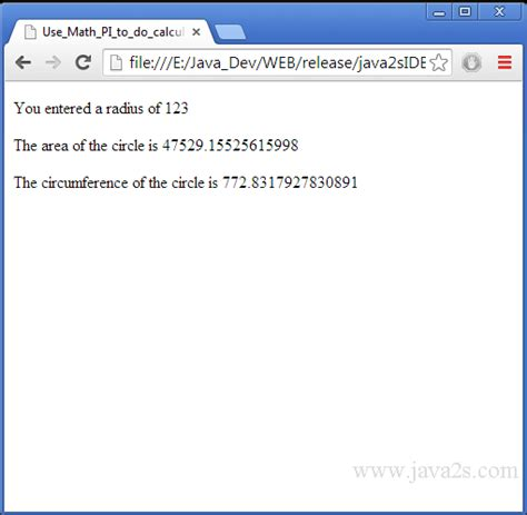 javascript tutorial math use math pi to do calculation in javascript