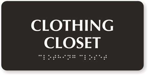 Closet Signs by Clothing Closet Sign Tactiletouch Braille Sign Sku Se 5418