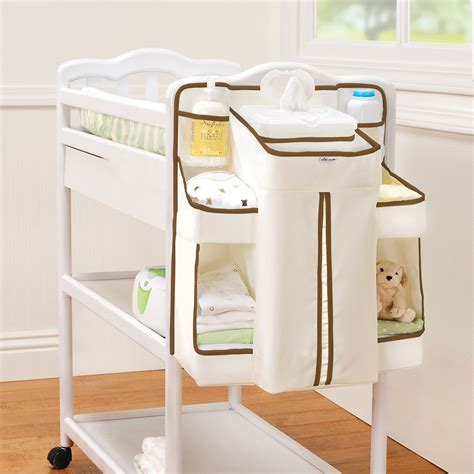 Nappy Change Organiser White Brown Nappy Changing Table