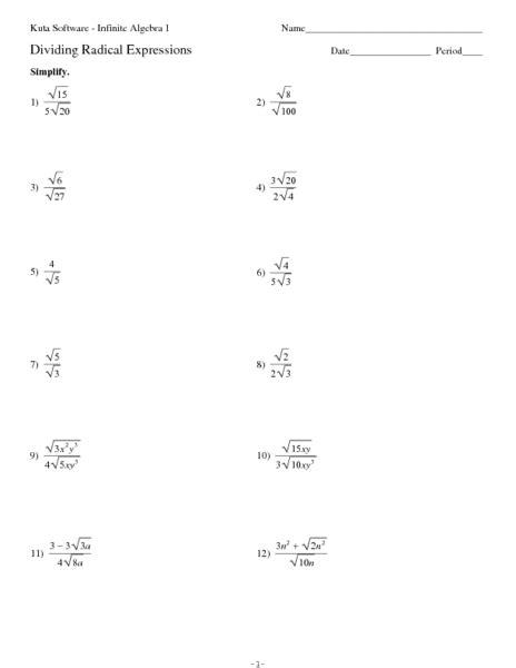 Radicals Worksheet by Dividing Radicals Worksheet Free Worksheets Library