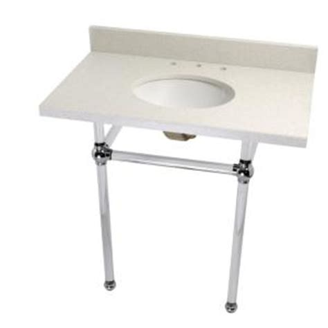 Quartz Console Table Kingston Brass Washstand 36 In Console Table In White Quartz With Acrylic Legs And Connectors
