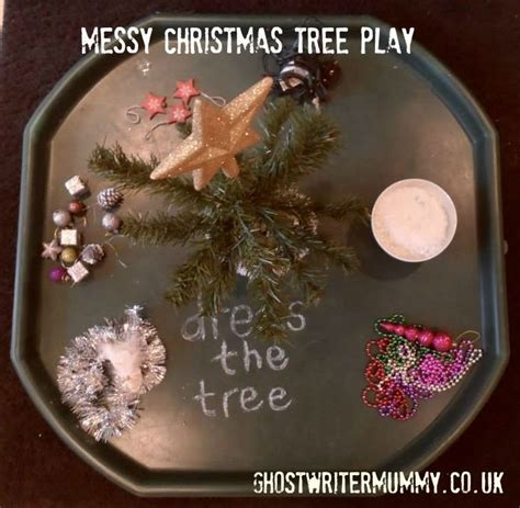 messy christmas tree play